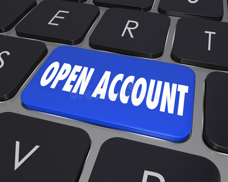 Open New Account Computer Keyboard Key. Open a new account for an online, internet, webiste or other technology service by pressing this button and registering vector illustration