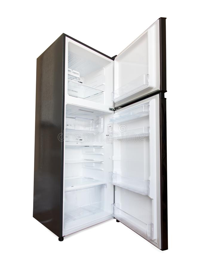 The open new fridge isolated on a white background. stock photos