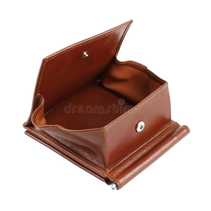 Open new light brown wallet of cattle leather stock image