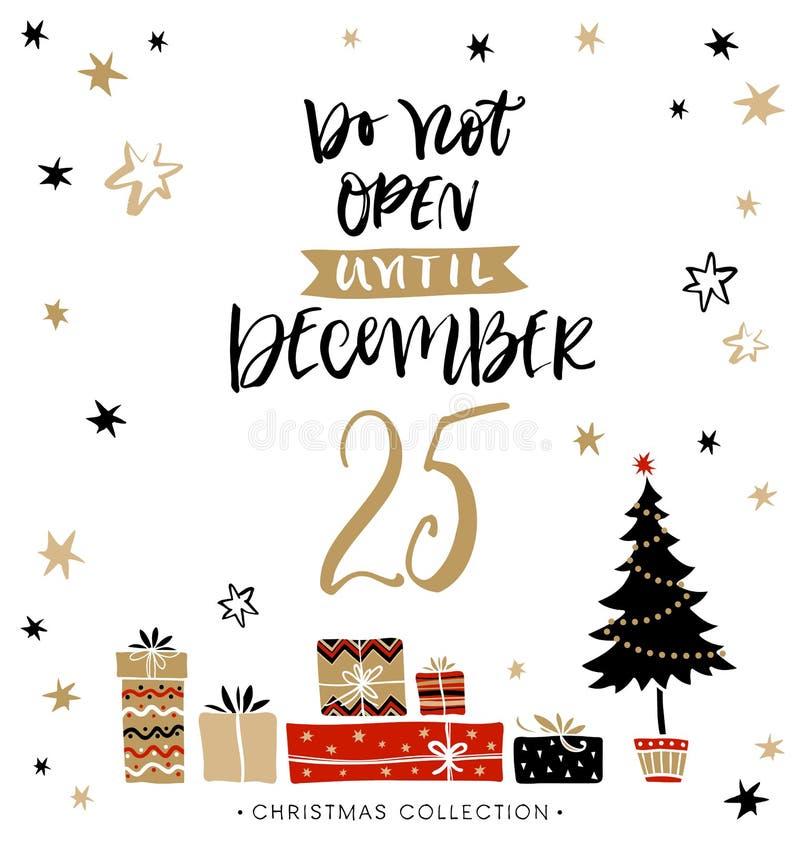 Open niet tot 25 December De Kerstman op een slee royalty-vrije illustratie