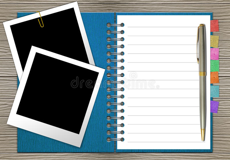 Open note book with bookmark stock illustration
