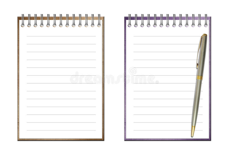 Open note bookand pen isolated royalty free stock images