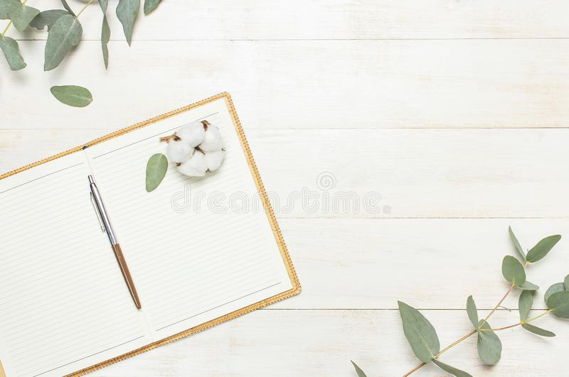 Open notebook with blank pages, pen, eucalyptus twig and cotton flowers on white wooden background top view flat lay. Fashion. Female blogger working desk royalty free stock photo