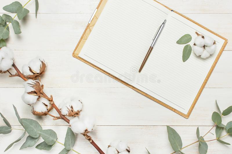 Open notebook with blank pages, pen, eucalyptus twig and cotton flowers on white wooden background top view flat lay. Fashion royalty free stock photography