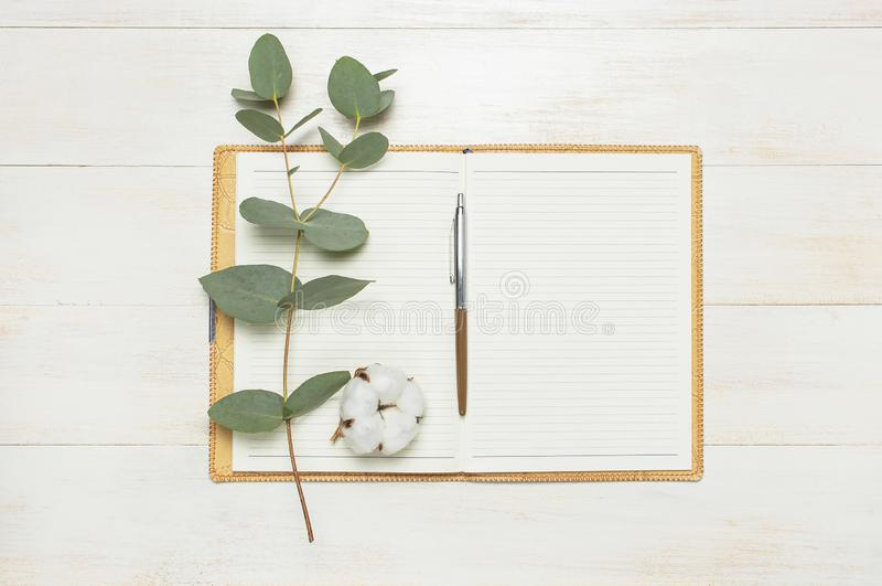 Open notebook with blank pages, pen, eucalyptus twig and cotton flowers on white wooden background top view flat lay. Fashion. Female blogger working desk royalty free stock photos