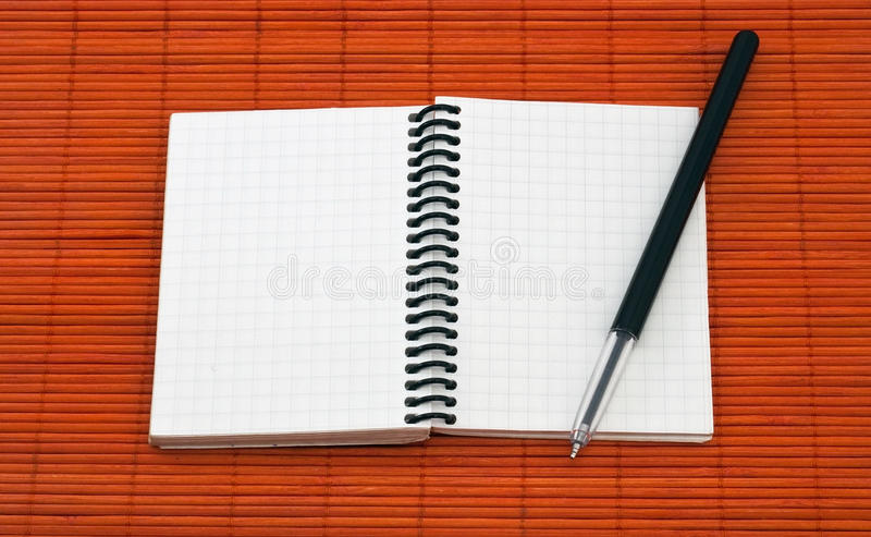 Open Notebook With Pen Stock Image