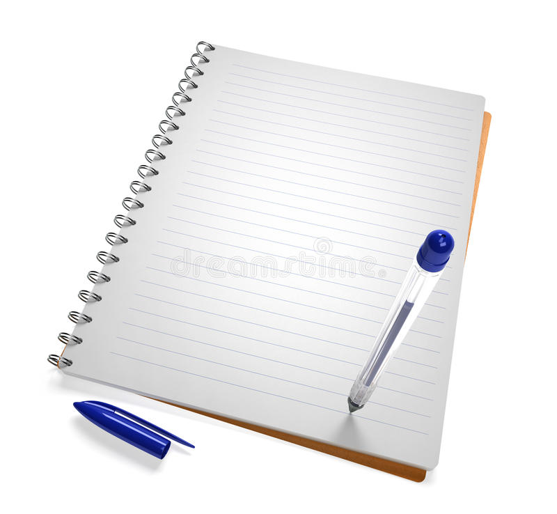 Open notebook with pen stock illustration