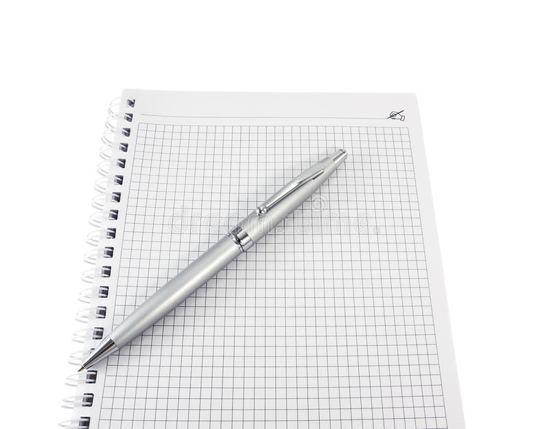Open a notebook and pen for notes on a white stock photo