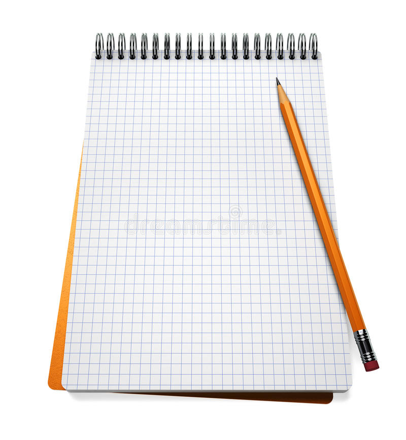 Open notebook and pencil stock illustration