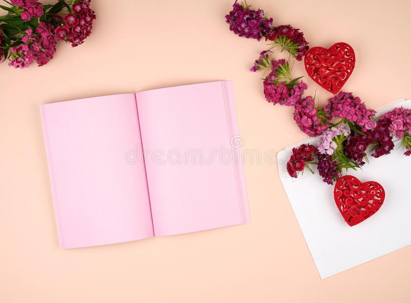 Open notebook with pink blank pages. And Turkish carnation Dianthus barbatus flower buds and a white paper envelope on a peach background, top view stock images