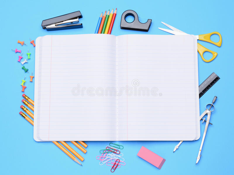 Download Open Notebook With School Supplies Stock Photos - Image: 33290853