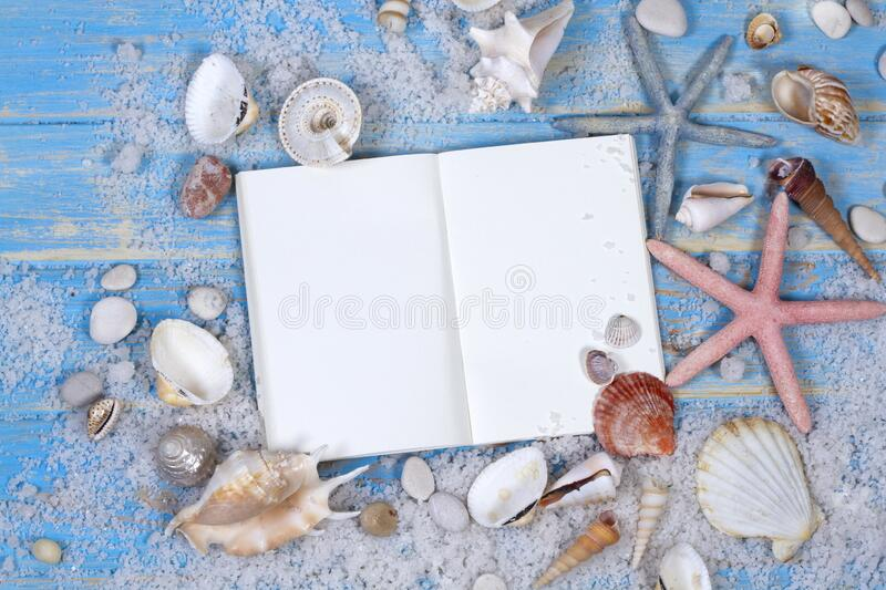 Open notebook with of seashells and starfish on blue wooden planks view royalty free stock photos