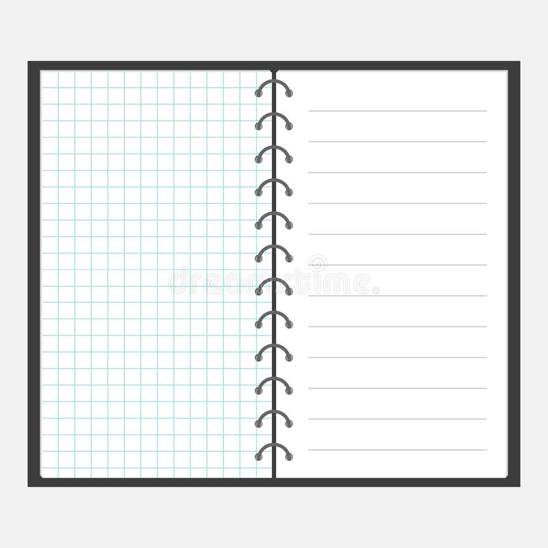 Download Open Notebook With Spiral And Blank Line Cell Paper. Lined Page  Template. Squared  Lined Page Template
