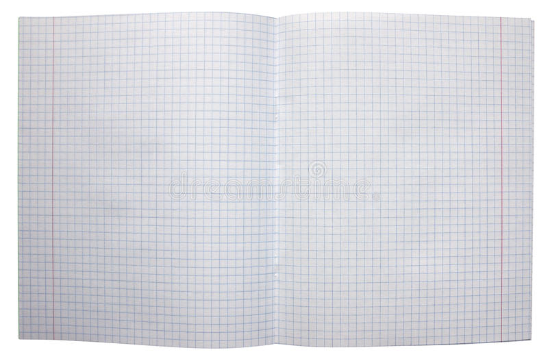 Open notebook with squared pages. stock photo