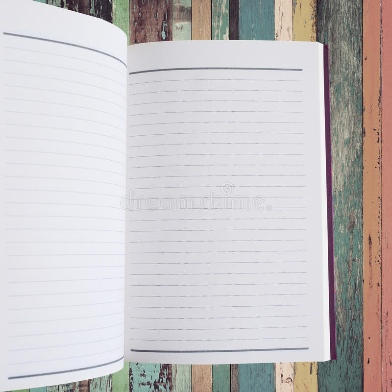 Open notebook with vintage background royalty free stock image