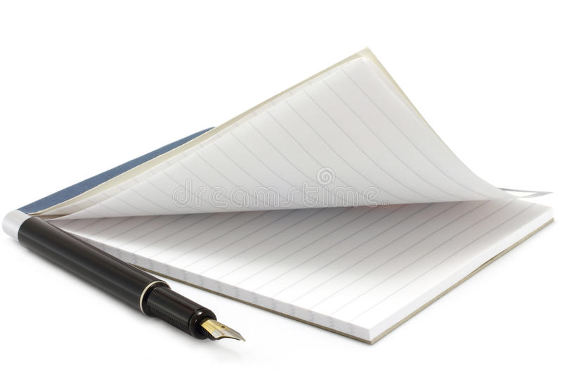 Open notepad and pen stock photo