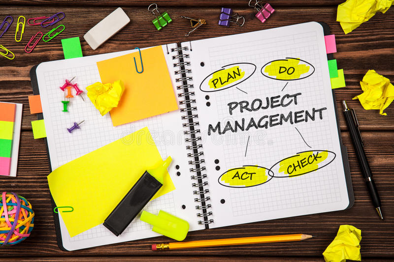 Open notepad with project management sign. Open notepad with project management sketch stock photography