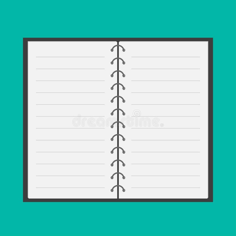 Open notepad with spiral and blank lined paper. Fl stock illustration
