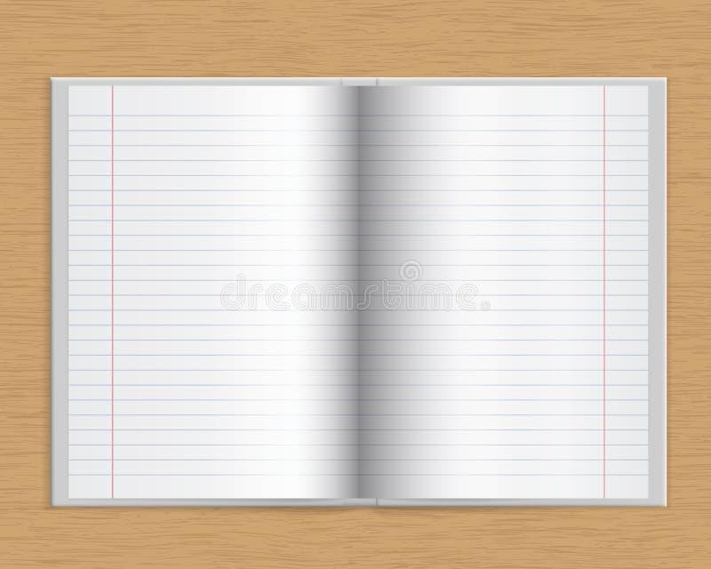 Open notitieboekje met harde dekking en van gevoerd document op een houten lusje vector illustratie