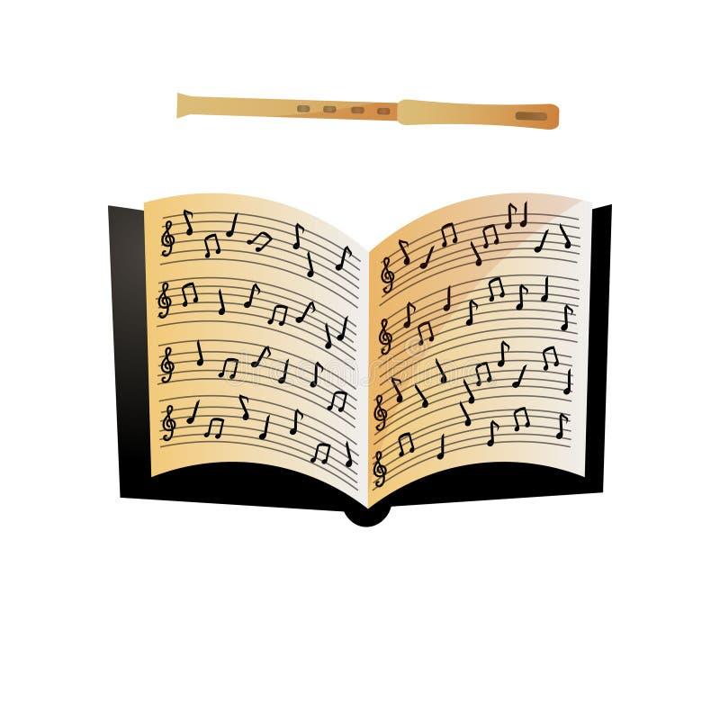 Open notitieboekje met muzieknoten en moderne houten fluit stock illustratie