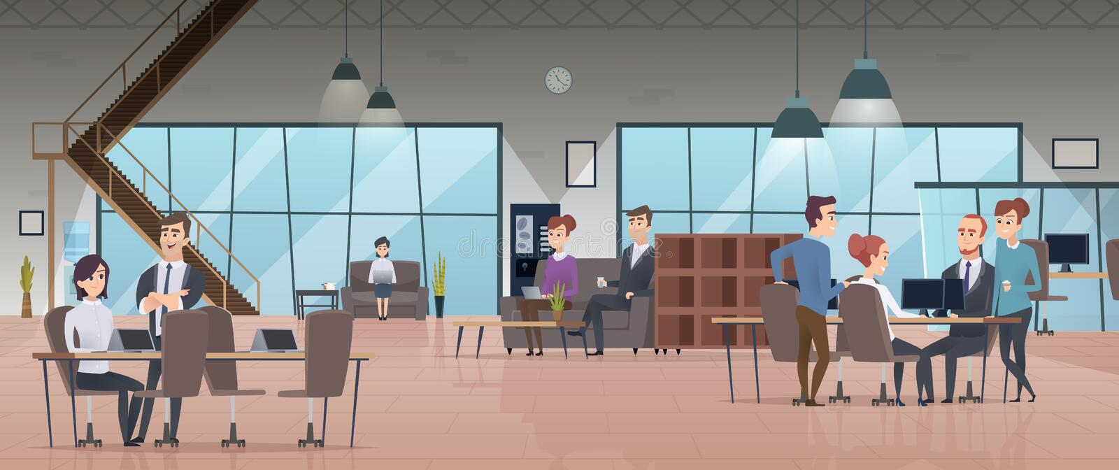 Open office interior. Business people workspace corporate working characters vector modern office vector illustration