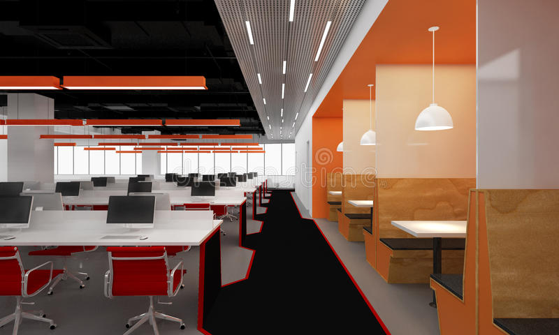 Open office. Large open office with computers and orange office chairs on rows of white topped desks illuminated by ceiling lights and distant windows vector illustration