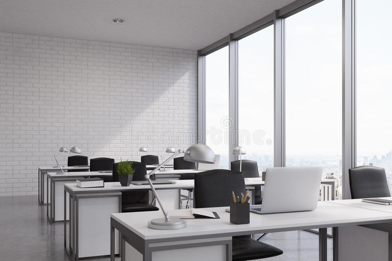 Open Office With A Panoramic Window Stock Illustration ...