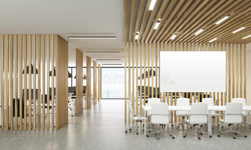 Open office with whiteboard. Open office interior with wooden partitions, New York city view and meeting area with blank whiteboard. Mock up, 3D Rendering vector illustration