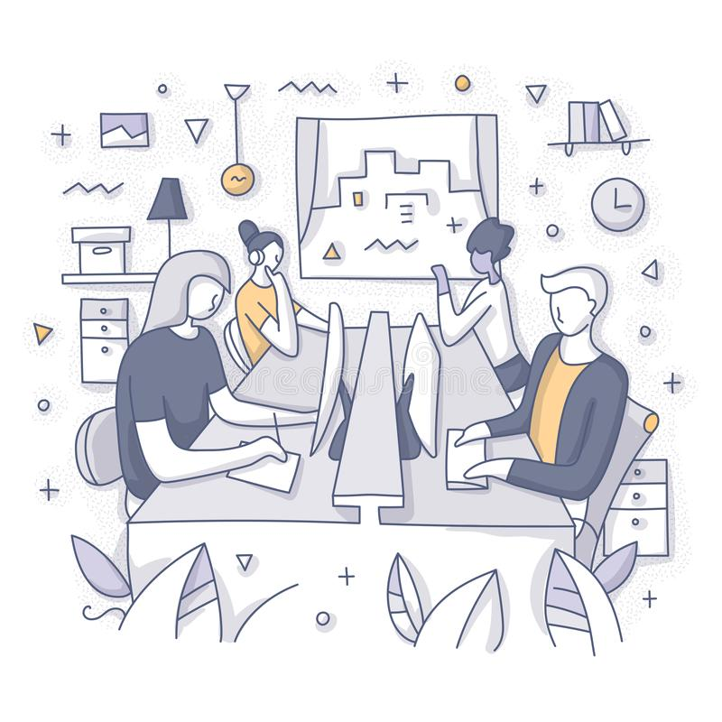 Open Office Workspace Concept royalty free illustration