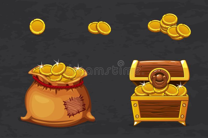 Open old bag and wooden chest. Ancient pirate money for winner. Vector cartoon illustration coins icons for web, games vector illustration