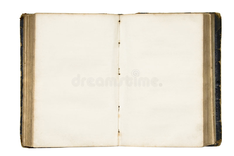 Open old blank book with clipping path. stock photo