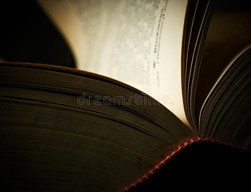 Open old book. Open pages of old book, closeup stock photography