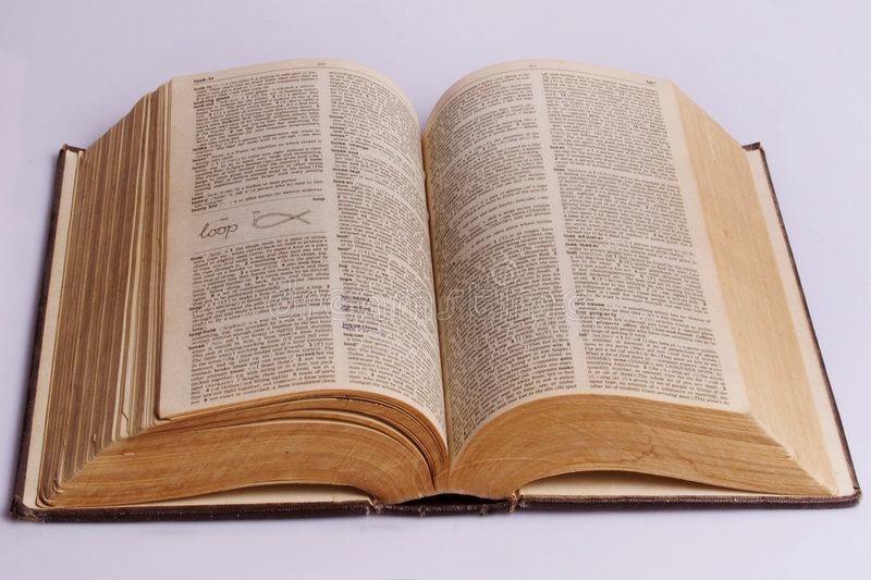 The open old book. The dictionary on a white background stock image