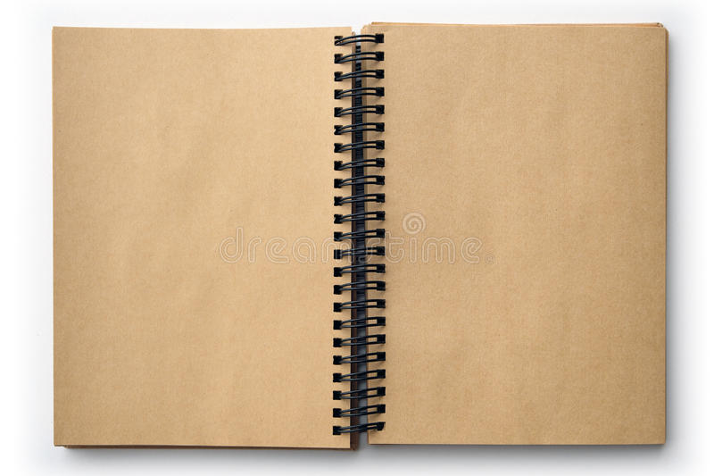 Open old book with blank pages isolated on white.  royalty free stock images