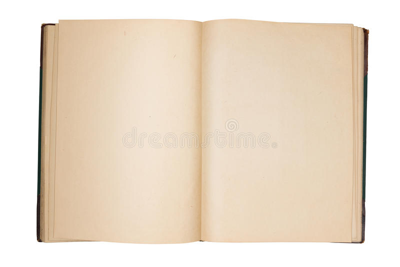 Open old book with empty pages royalty free stock image