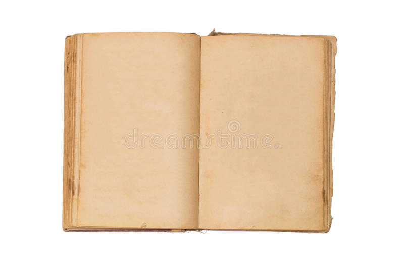 Open old book isolated, vintage book with blank yellow stained pages. Open old book isolated, vintage book with blank yellow stained pages royalty free stock photography