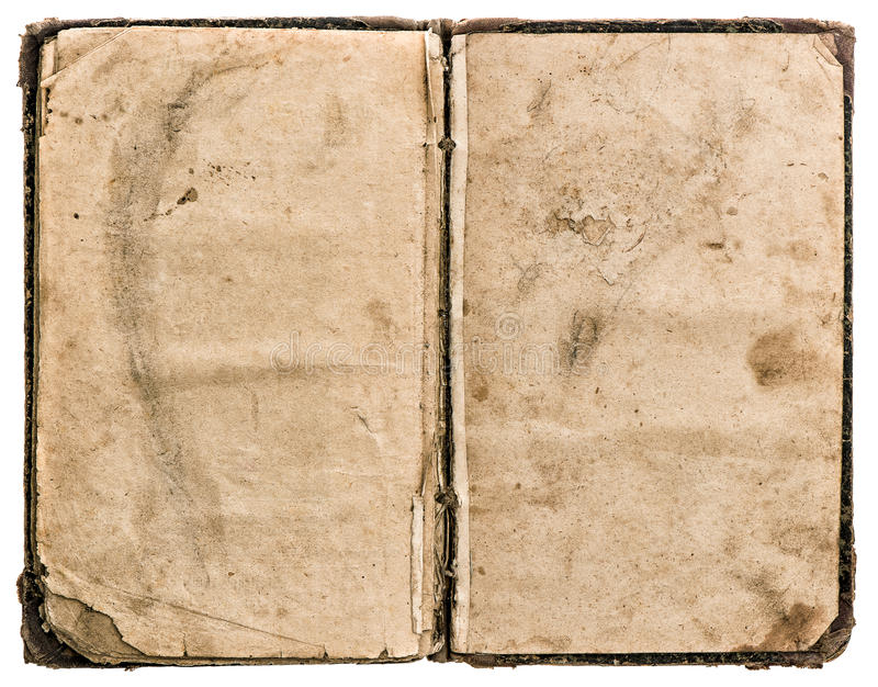 Open old book isolated on white. grungy worn paper texture stock photography