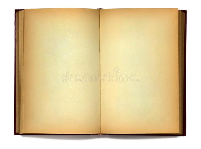Open old book on white background stock images