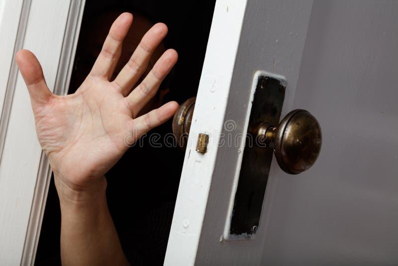Open a old door. Old wooden door with door knob, concept of help royalty free stock photography