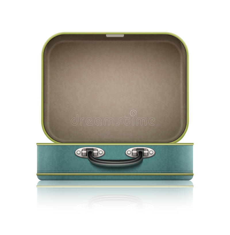 Open old retro vintage suitcase for travel royalty free illustration