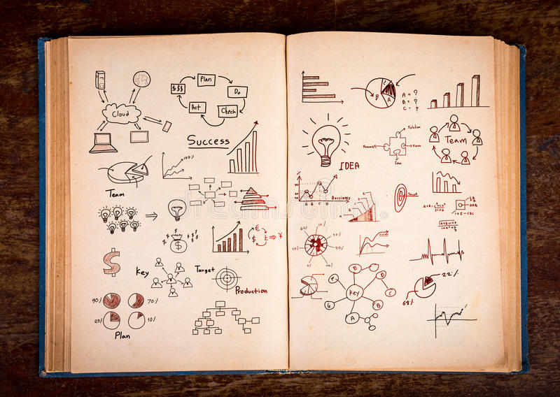 Download Open Old Vintage Book With Business Graph Stock Illustration - Image: 32090181