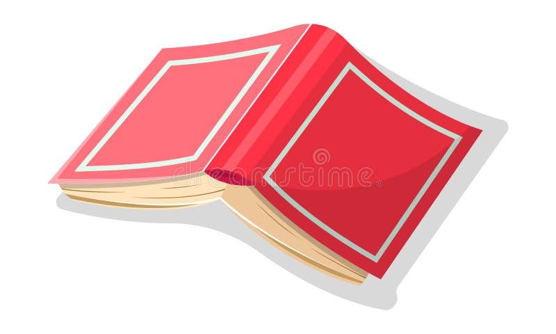Open omgekeerd rood dik boek in hard jasje Vectorbeeldverhaalpictogram voor literaire, onderwijsprojets vector illustratie