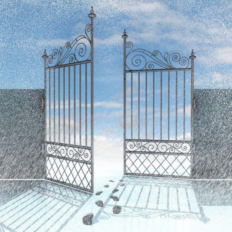 Open omheining met voetafdrukken in de sneeuwwinter royalty-vrije illustratie