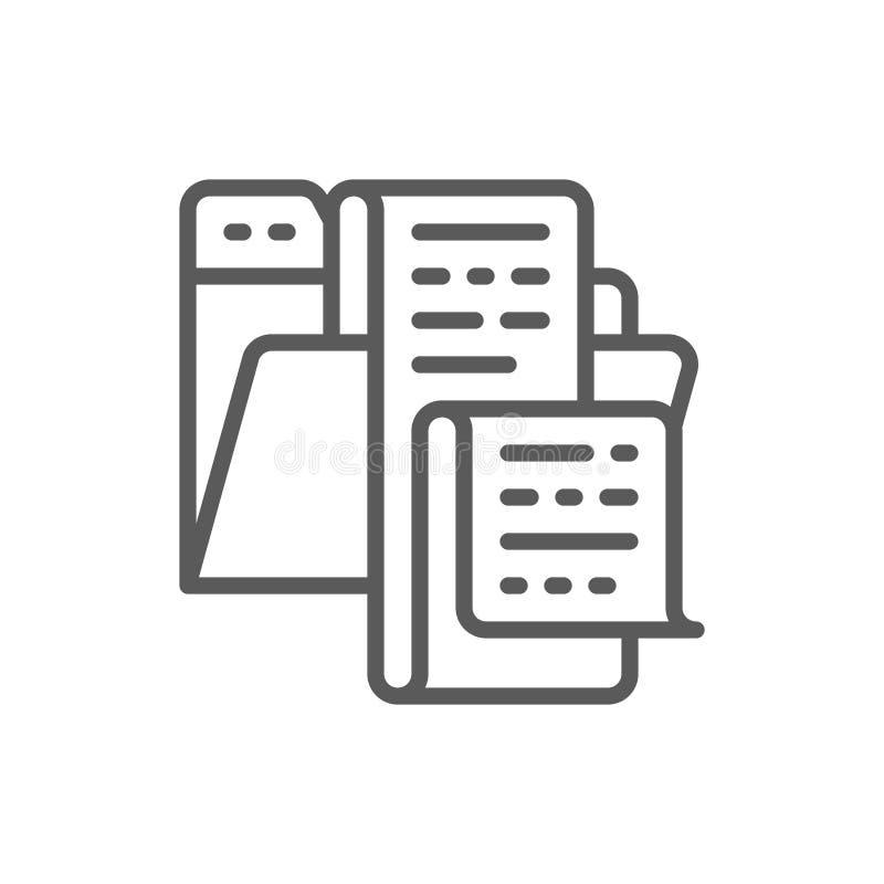 Open omslag met documenten, dossier, lijst van het pictogram van de banenlijn vector illustratie