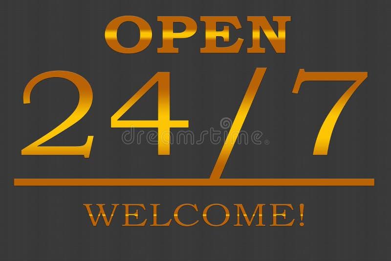 Open - onthaal 24/7 - illustratie stock foto's