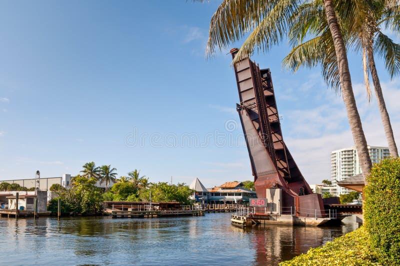 Open ophaalbrug in Fort Lauderdale royalty-vrije stock afbeelding