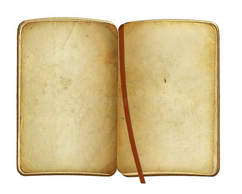 Open oud boek op de geïsoleerde achtergrond stock illustratie