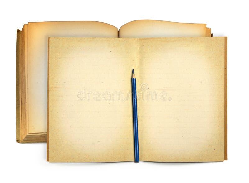 Open oud boeken en potlood royalty-vrije stock afbeeldingen