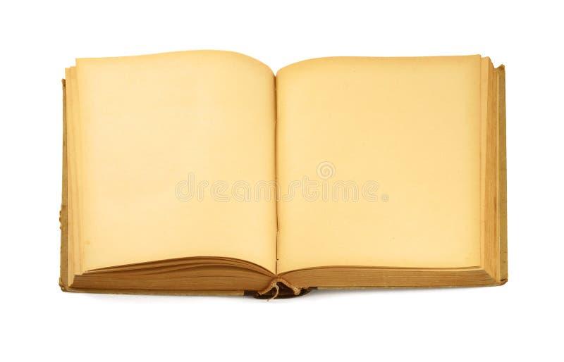 Open oud leeg boek op wit stock afbeelding