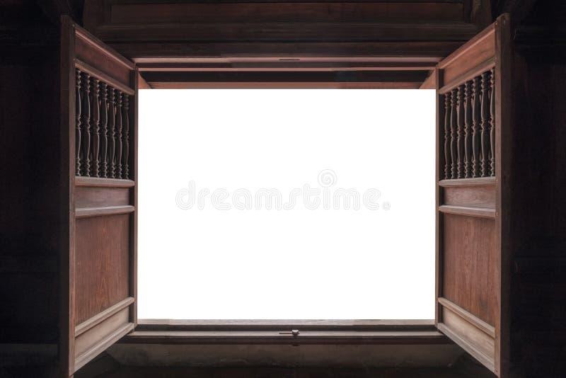 Open oude houten deur en witte achtergrond stock foto